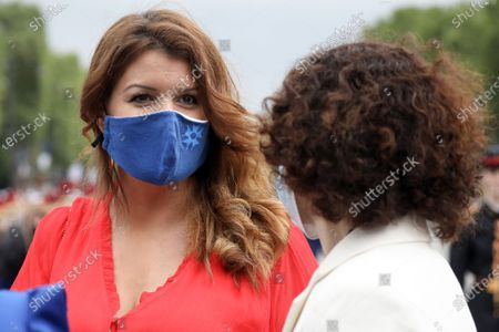 Marlene Schiappa, Minister Delegated to the Minister of the Interior of France, in charge of Citizenship, attends the military parade of the Day of the Bastille on Avenue des Champs Elysees, in Paris, France, on July 14, 2021.