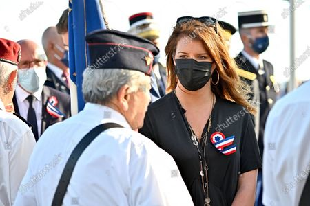 Marlene Schiappa, Minister Delegated to the Minister of the Interior for Citizenship during the military parade to mark Bastille Day in Nice, France, July 14, 2021.
