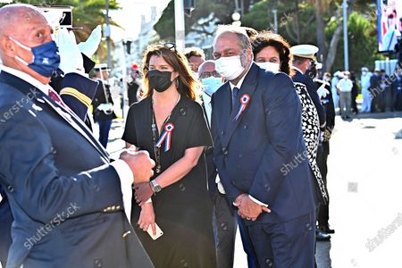 Marlene Schiappa, Minister Delegated to the Minister of the Interior for Citizenship and Eric Dupont-Moretti, Guard of the Seals, Minister of Justice during the military parade to mark Bastille Day in Nice, France, July 14, 2021.