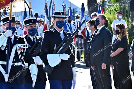 Prime Minister Jean Castex accompanied by Christian Estrosi, the Mayor of Nice and Marlene Schiappa, Minister Delegated to the Minister of the Interior for Citizenship during the military parade to mark Bastille Day in Nice, France, on July 14, 2021.