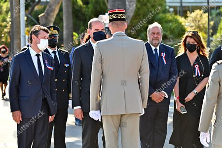 Prime Minister Jean Castex accompanied by Christian Estrosi, the Mayor of Nice, Eric Dupont-Moretti, Guard of Seals, Minister of Justice and Marlene Schiappa, Minister Delegated to the Minister of the Interior for Citizenship during the military parade to mark Bastille Day in Nice, France, July 14, 2021.