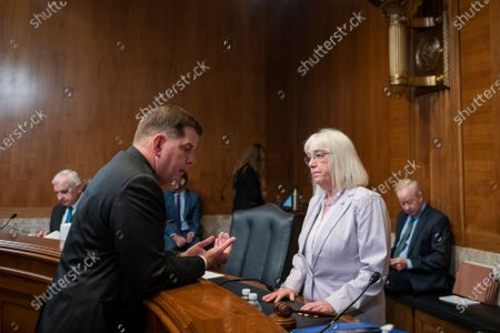 Department of Labor Secretary Martin J. Walsh, left, talks with United States Senator Patty Murray (Democrat of Washington) prior to a Senate Committee on Appropriations - Subcommittee on Labor, Health and Human Services, and Education, and Related Agencies hearing to examine proposed budget estimates and justification for fiscal year 2022 for the Department of Labor, in the Dirksen Senate Office Building in Washington, DC,.