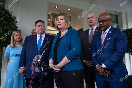 Editorial picture of Governors and Mayors speak to jounralists following a meeting at the White House, Washington, USA - 08 Jul 2021