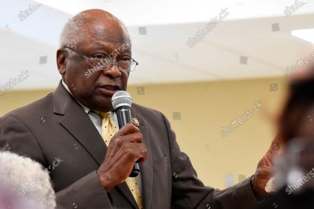 House Majority Whip Jim Clyburn speaks during a town hall meeting in his district, in Hopkins, S.C