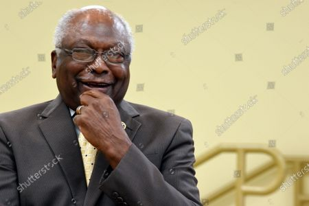 House Majority Whip Jim Clyburn waits to speak at a town hall meeting in his district, in Hopkins, S.C