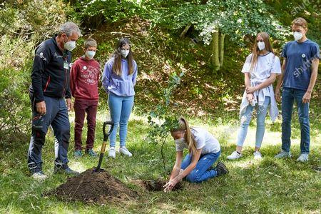 Stock Image of Princess Leonor and Princess Sofia participated in the act of the European Program #UnArbolporEuropa at Hayedo de Montejo de la Sierra