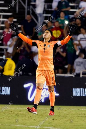 Mexico goalkeeper Alfredo Talavera (1) celebrates after they defeated Guatemala 3-0 in a CONCACAF Gold Cup Group A soccer match in Dallas