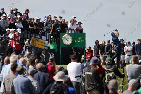 United States' Patrick Reed play his tee shot at the 3rd hole during the first round British Open Golf Championship at Royal St George's golf course Sandwich, England