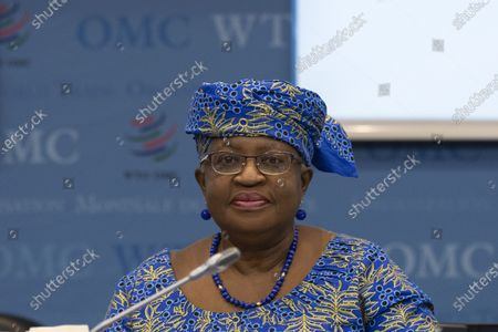 WTO Director-General Ngozi Okonjo-Iweala attends a Fisheries Subsidies Meeting of the WTO Trade Negotiations Committee at Ministerial Level, at the headquarters of the World Trade Organization (WTO) in Geneva, Switzerland, 15 July 2021. A virtual meeting of ministers takes place on the day to advance negotiations on curbing harmful fisheries subsidies.