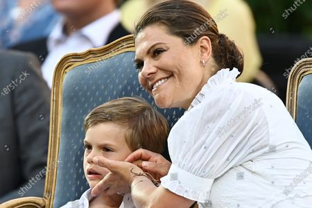Stock Picture of Sweden's Prince Oscar and Crown Princess Victoria during the celebrations of Crown Princess Victoria's birthday at Borgholm Castle in Borgholm, Sweden, July 14, 2021.