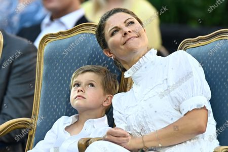 Sweden's Prince Oscar and Crown Princess Victoria during the celebrations of Crown Princess Victoria's birthday at Borgholm Castle in Borgholm, Sweden, July 14, 2021.