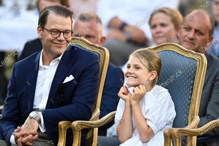 Prins Daniel and Princess Estelle during the celebrations of Crown Princess Victoria's birthday at Borgholm Castle in Borgholm, Sweden, July 14, 2021.
