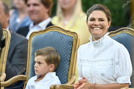 Stock Image of Sweden's Prince Oscar and Crown Princess Victoria during the celebrations of Crown Princess Victoria's birthday at Borgholm Castle in Borgholm, Sweden, July 14, 2021.