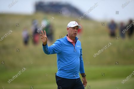 Stewart Cink of the US reacts on the seventh hole during the first round of The Open 2021 golf championship at Royal St George's golf course in Sandwich, Kent, Britain, 15 July 2021.