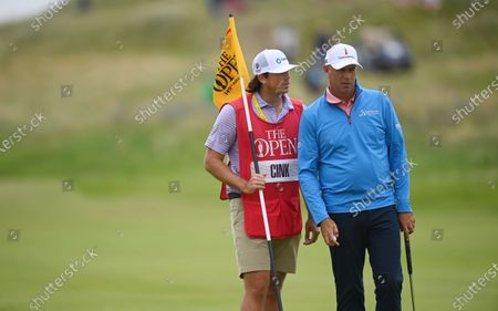 Stewart Cink of the US and his caddie on the sixth hole during the first round of The Open 2021 golf championship at Royal St George's golf course in Sandwich, Kent, Britain, 15 July 2021.
