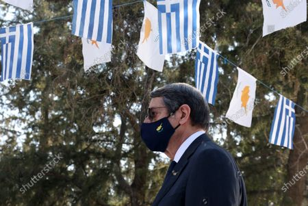 Stock Picture of Cyprus President Nicos Anastasiades attends a memorial service, marking the 47th anniversary of the military coup, at Saints Constantinos and Eleni Church in Nicosia, Cyprus, 15 July 2021. In 1974, after clashes between the Greek Cypriot and Turkish Cypriot communities, Greek Cypriot nationalists and a Greek military junta attempted to unify the country with Greece. In response, Turkey invaded the northern part of the island, resulting in a partition which continues till present day.