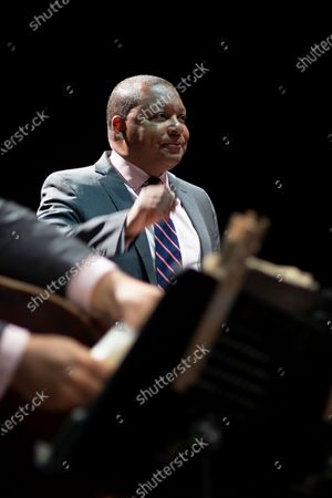 Stock Photo of American jazz trumpeter Wynton Marsalis performs in concert with Jazz At Lincoln Center Orchestra during Noches del Botanico music festival at Real Jardín Botánico Alfonso XIII on July 13, 2021 in Madrid, Spain.