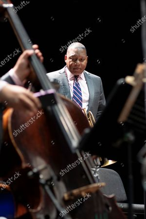 American jazz trumpeter Wynton Marsalis performs in concert with Jazz At Lincoln Center Orchestra during Noches del Botanico music festival at Real Jardín Botánico Alfonso XIII on July 13, 2021 in Madrid, Spain.
