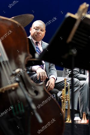 Stock Image of American jazz trumpeter Wynton Marsalis performs in concert with Jazz At Lincoln Center Orchestra during Noches del Botanico music festival at Real Jardín Botánico Alfonso XIII on July 13, 2021 in Madrid, Spain.