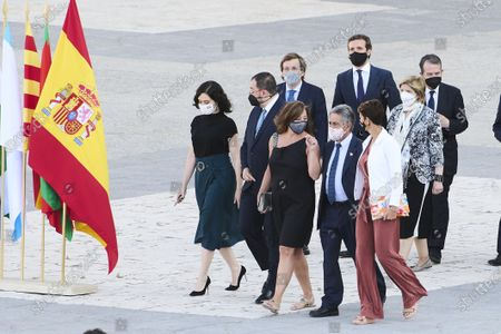 Isabel Diaz Ayuso, Juan Manuel Moreno Bonilla, Maria Chivite, Francina Armengol, Revilla and other comunity presidents attends State tribute to the victims of the coronavirus (Covid-19) and recognition to society at Royal Palace on July 15, 2021 in Madrid, Spain