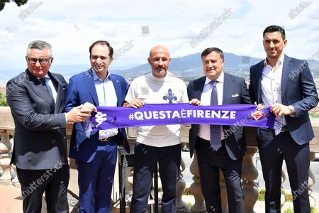 Stock Image of Press conference to present Vincenzo Italiano, the new head coach of A.C.F. Fiorentina - Daniele Pradè, Sport Director of the Acf Fiorentina team, Joseph B. Commisso, Vincenzo Italiano, Joe Barone, General Director of the Acf Fiorentina team and Nicolas Burdisso, Technical Director of the Acf Fiorentina team.