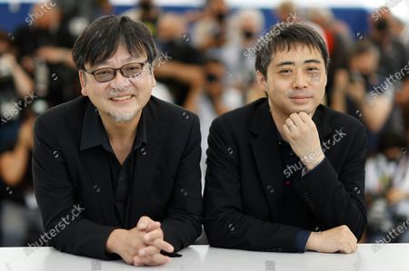 Mamoru Hosoda (L) and producer Yuichiro Saito pose during the photocall for 'Belle' at the 74th annual Cannes Film Festival, in Cannes, France, 15 July 2021. The festival runs from 06 to 17 July.
