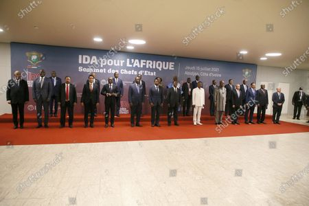 Ivorian President Alassane Ouattara (C- front) poses with African heads of state during a high-level meeting on the 20th replenishment of the International Development Association (IDA-20) in Abidjan, Ivory Coast, 15 July 2021. The event is attended by several African heads of state.