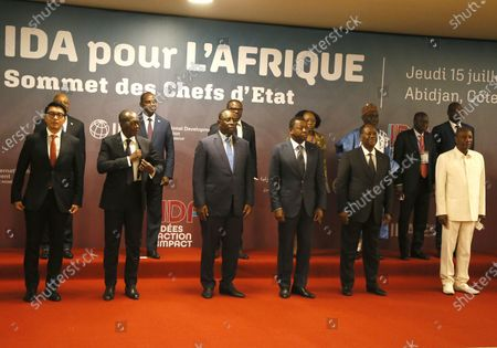 Ivorian President Alassane Ouattara (2-R front) poses with African heads of state during a high-level meeting on the 20th replenishment of the International Development Association (IDA-20) in Abidjan, Ivory Coast, 15 July 2021. The event is attended by several African heads of state.