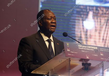 Ivorian President Alassane Ouattara speaks at a high-level meeting on the 20th replenishment of the International Development Association (IDA-20) in Abidjan, Ivory Coast, 15 July 2021. The event is attended by several African heads of state.