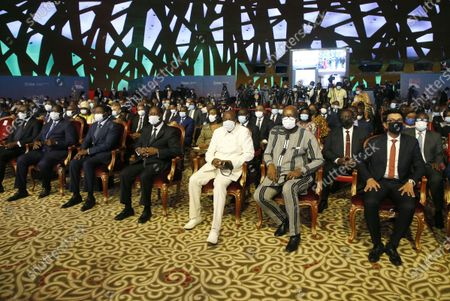 Ivorian President Alassane Ouattara (C- front) sits with African heads of state during a high-level meeting on the 20th replenishment of the International Development Association (IDA-20) in Abidjan, Ivory Coast, 15 July 2021. The event is attended by several African heads of state.