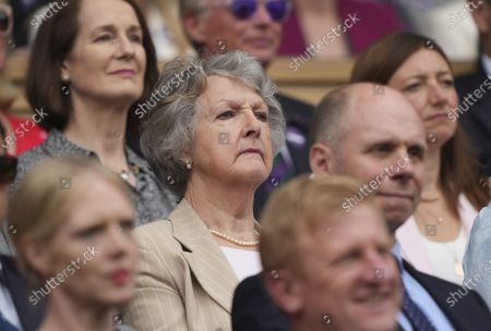 Actress Penelope Keith in the Royal Box on Centre Court