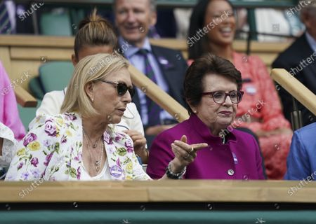 Stock Image of Former Wimbledon Ladies' champions Martina Navratilova and Billie-Jean King in the Royal Box on Centre Court