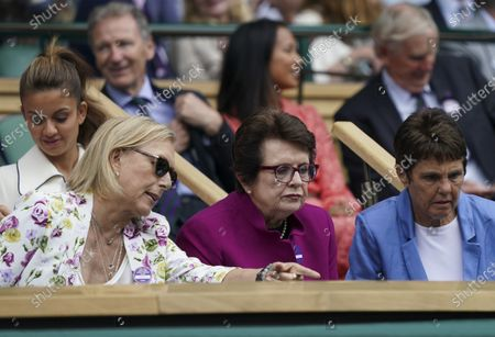 Stock Picture of Former Wimbledon Ladies' champions Martina Navratilova and Billie-Jean King in the Royal Box on Centre Court