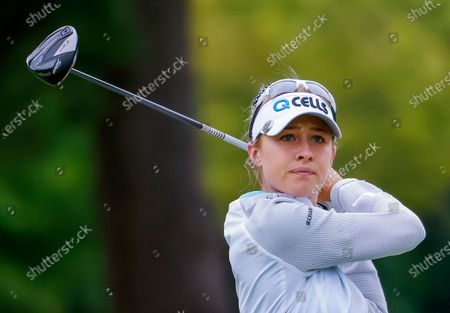 Nelly Korda of the US in action on the eleventh hole during the second round of the Dow Great Lakes Bay Invitational women's golf tournament at the Midland Country Club in Midland, Michigan, USA, 15 July 2021.