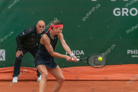 Stock Photo of Lausanne Switzerland, 07/15/2021: Mandy Minella of Luxembourg is in action during the 8th final, Lausanne 2021 tennis tournament WTA 250