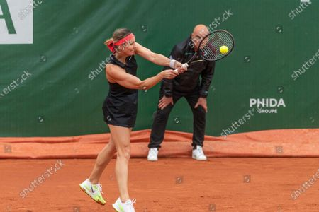 Lausanne Switzerland, 07/15/2021: Mandy Minella of Luxembourg is in action during the 8th final, Lausanne 2021 tennis tournament WTA 250