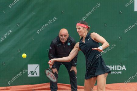 Stock Image of Lausanne Switzerland, 07/15/2021: Mandy Minella of Luxembourg is in action during the 8th final, Lausanne 2021 tennis tournament WTA 250