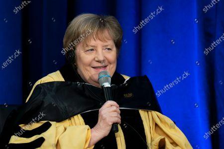 Editorial picture of US Germany Merkel John Hopkins, Washington, United States - 15 Jul 2021