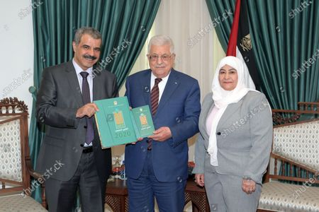 Editorial photo of Palestinian president Mahmoud Abbas receives the annual report from a head of the administrative and financial oversight bureau, Ramallah, West Bank, Palestinian Territory - 15 Jul 2021