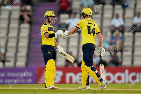 Stock Picture of D'Arcy Short (left) and James Vince of Hampshire Hawks during the Vitality T20 Blast match between Hampshire Hawks and Sussex Sharks at The Ageas Bowl, Southampton