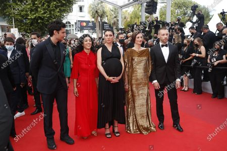 Louis Garrel, Naidra Ayadi, Rachel Lang, Camille Cottin, and Aleksandr Kuznetsov arrive for the screening of 'France' during the 74th annual Cannes Film Festival, in Cannes, France, 15 July 2021. The movie is presented in the Official Competition of the festival which runs from 06 to 17 July.