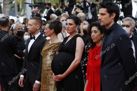 Stock Photo of Louis Garrel, Naidra Ayadi, Rachel Lang, Camille Cottin, and Aleksandr Kuznetsov arrive for the screening of 'France' during the 74th annual Cannes Film Festival, in Cannes, France, 15 July 2021. The movie is presented in the Official Competition of the festival which runs from 06 to 17 July.