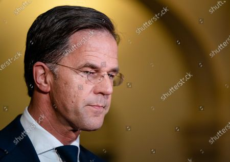 Outgoing Prime Minister Mark Rutte responds to the death of crime reporter Peter R. de Vries at the Ministry of General Affairs, in the Hague, Netherlands, 15 July 2021. De Vries died after he was shot a week earlier in the Lange Leidsedwarsstraat in the center of Amsterdam.