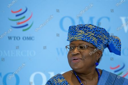 Director-General of the World Trade Organisation Ngozi Okonjo-Iweala speaks to the media during a press conference following a Fisheries Subsidies Meeting of the WTO Trade Negotiations Committee at Ministerial Level, at the headquarters of the World Trade Organization (WTO) in Geneva, Switzerland, 15 July 2021. A virtual meeting of ministers take place on 15 July to advance negotiations on curbing harmful fisheries subsidies.
