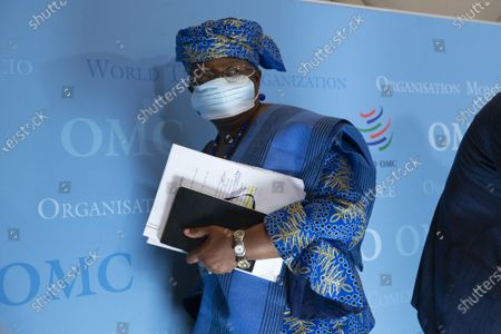 Director-General of the World Trade Organisation Ngozi Okonjo-Iweala leaves the press conference after speaking to media following a Fisheries Subsidies Meeting of the WTO Trade Negotiations Committee at Ministerial Level, at the headquarters of the World Trade Organization (WTO) in Geneva, Switzerland, 15 July 2021. A virtual meeting of ministers take place on 15 July to advance negotiations on curbing harmful fisheries subsidies.