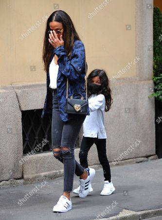 Editorial photo of Zoe Saldana and Marco Perego out and about, Milan, Italy - 15 Jul 2021