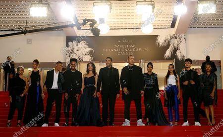 Sofia Akhmisse, Amina Kannan, Mehdi Razzouk, Ismail Adouab, Maryam Touzani, Nabil Ayouch, Anas Basbousi, Meriem Nakkach, Nouhaila Arif, Abdelilah Basbousi and Samah Barigou arrive for the screening of 'Haut Et Fort (Casablanca Beats)' during the 74th annual Cannes Film Festival, in Cannes, France, 15 July 2021. The movie is presented in the Official Competition of the festival which runs from 06 to 17 July.