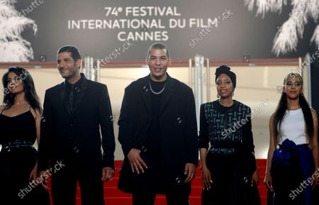 Maryam Touzani, Nabil Ayouch, Anas Basbousi, Meriem Nakkach, and Nouhaila Arif arrive for the screening of 'Haut Et Fort (Casablanca Beats)' during the 74th annual Cannes Film Festival, in Cannes, France, 15 July 2021. The movie is presented in the Official Competition of the festival which runs from 06 to 17 July.