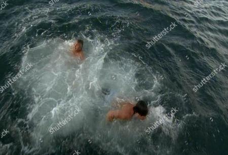 Richard Madeley and Nick Hancock go for a swim