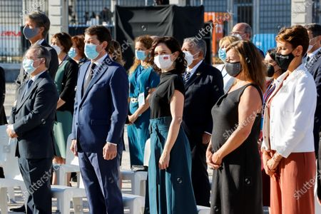 Kings of Spain attend the act of state tribute to the victims of the covid-19 pandemic and recognition of health personnel at Plaza la Armeria of the Palacio Real, in Madrid on July 15, 2021 President of the Balearic Islands, Francisna Armengol; President of Navarra, Maria Chivite; President of Madrid, Isabel Diaz Ayuso ; President of Castilla y León, Alfonso Fernandez Manueco; President of Ceuta, Juan Jesus Vivas